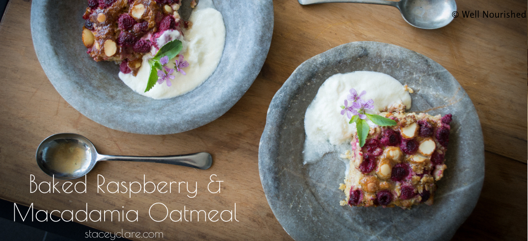 Baked Raspberry and Macadamia Oatmeal